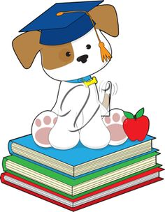 iCLIPART - A cute puppy wearing a graduate cap, is sitting atop a stack of three books, beside a red apple.