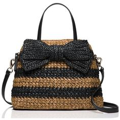 Kate Spade Rollins Street Maise ($278) ❤ liked on Polyvore featuring bags, handbags, satchels, kate spade purses, kate spade, summer purses, bow purse and woven handbags