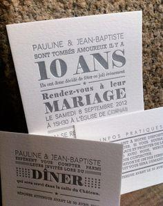 Faire-part en letterpress réalisé par My Perfect Wedding, Our Wedding, Dream Wedding, Faire Part Invitation, 40th Wedding Anniversary, Party Buffet, Gold Party, Letterpress, Just Married