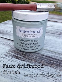 """BEFORE:  Come see the """"after"""" and how I created a faux driftwood finish using Americana Chalky Finish Paint.   By SnazzyLittleThings.com"""