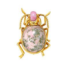 Verdura Gemstone Gold Beetle Pin