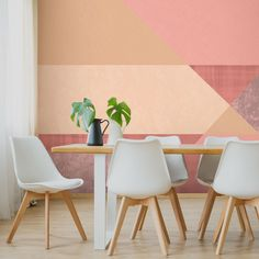 Geometric wallpaper will add another dimension to your room with various shapes and colours to choose from. These geometric wallpapers are perfect for Geometric Wallpaper For Walls, Geometric Wall Paint, Colorful Wallpaper, Wall Wallpaper, Wallpaper Ideas, Geometric Patterns, Geometric Animal, Bedroom Wall Designs, Kitchen Wall Colors