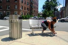Ref 032ss flared top stainless steel litter bin in Brooklyn NY, USA - www.bluetonltd.com, #landscape architecture, #street furniture, #outdoor seating, #site furnishings