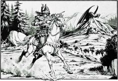 Chance meeting in the wilderness. (Larry Elmore from Mentzer's D&D Expert Rulebook, TSR, 1983.)