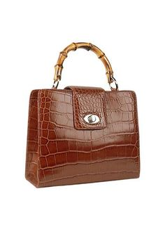 Buti+Brown+Croco-embossed+Leather+Compact+Tote+Bag