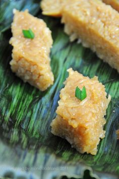 """Wajik (read: """"waa-jeek"""") - Brown Sticky Rice Cake. Wajik literally means diamond shape. It is made of glutinous rice and flavored by caramelized palm sugar and coconut milk."""