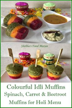 Shobha's Food Mazaa: COLOURFUL IDLI MUFFINS / SPINACH, CARROT AND BEETROOT MUFFINS ( Holi Special) Holi Theme, Holi Recipes, Parboiled Rice, Holi Special, Muffin Cups, Beetroot, International Recipes, Spinach, Carrots