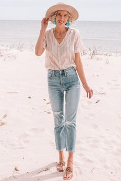 What to Pack for a Beach Vacation - Straight A Style, cropped jeans, summer button up shirt, travel style vacation outfits over 40 What to Pack for a Beach Vacation - Straight A Style Kick Flare Jeans, Beach Vacation Outfits, Summer Outfits, Vacation Fashion, Vacation Packing, Travel Fashion, Summer Clothes, Cropped Jeans Outfit, Vestidos