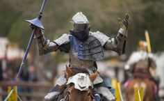Mark Desmond of the New Riders of the Golden Age completes a pass during a jousting tournament at Sherwood Forest Faire in McDade, Feb. 28, 2015. Photo by Joshua Trudell/For the Express-News