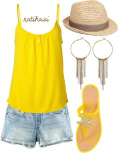 """""""Summer Beach Outfit"""" #Beach #Style #Fashion #Chic #Glamour #Vacation #Summer #Inspiration #InspireCollections"""