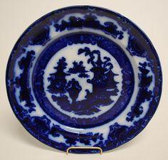 Antique Porcelain Flow Blue Plate