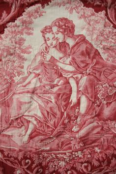 Antique French Bucolic Toile Quilted Textiles Red 3 Pieces for Reworking | eBay