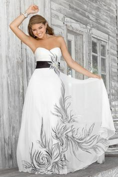 Blush Prom Black And White Strapless Dress With Empire Waist And Sweetheart Neckline 458