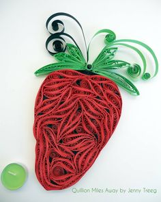 Project8: Passionate Fruits #quilling #art #quillingart #artist #jennytreeg #madebyme  #handmade #paper #colors #fruit #gift #present #red #strawberry #strawberries