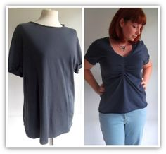 t shirt refashion makeover from a plain top to little for fitting details