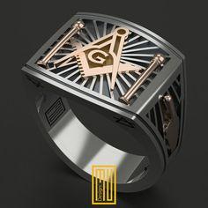 Masonic Ring Unique Design for Men 14k Rose Gold 925K Sterling Silver (HMY2015-MMRGS)
