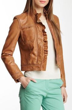 RED Valentino Woven Trim Leather Jacket