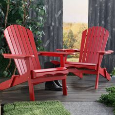 Have to have it. Set of 2 Cape Cod Foldable Adirondack Chairs - Red - $259.96 @hayneedle.com