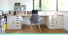 The top is supported by four VIKA ALEX units from IKEA—two with doors, and two with drawers.