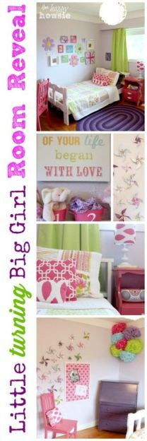 Little Turning Big Girl Bedroom Reveal at The Happy Housie - lots of thrifty ideas for creating an adorable space #girlbedroom