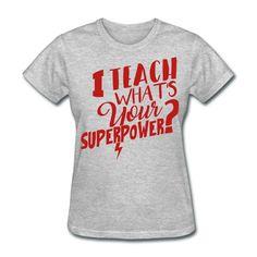 3305e38f RED GLITTER I teach what's your super power? - teacher t-shirt Teacher  Favorite