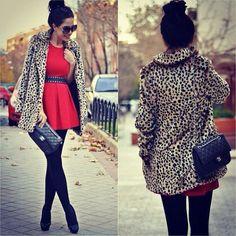 Leopard And Red #FallFashion #StreetWalker