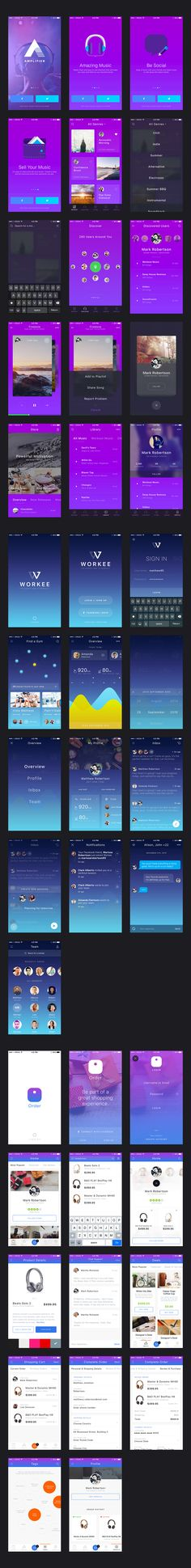 iPhone mobile app UI design kit for music, workout and e-commerce for iOS.