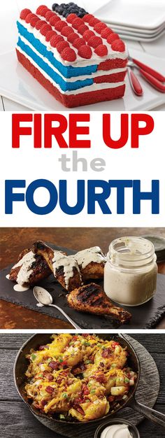 Celebrate the Fourth of July with White Barbecue Sauce with Smoky Chicken, Loaded Smashed Potatoes and a Red, White and Blue Cake from McCormick