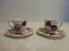 Made In Italy Espresso Cups & Saucers  white/blue/gold/red