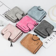 Short Design 2 Fold Latest Design Money Bag Ladies Coin Wallet Purse