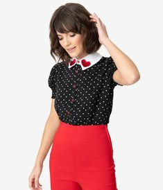 HELL BUNNY ALLIE BLOUSE HEART valentines shirt BLACK TOP