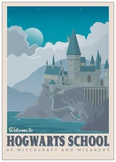 Harry Potter Poster | HOGSMEADE Harry Potter Travel Poster Vintage Print Wall Art House Warming New Apartment