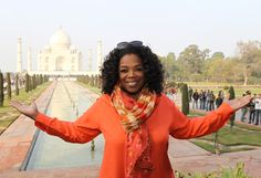 """We are definitely out of the studio,"" Oprah says. ""So far out of the studio, we're at the Taj Mahal in India!"""