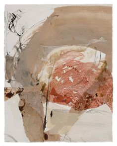 """F r a n  S k i l e s, Bauxite 22"""" x 17"""", Ink, water based paints, photography and papers with acrylic medium."""