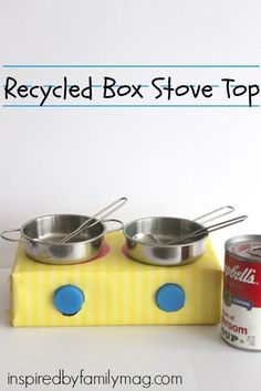 Recycled Box Stove Top - it took less than 15 minutes to make and my son played with it for over 30 minutes. I'm taking this on our next road trip if it gets lost, no biggie--it cost nothing to make.