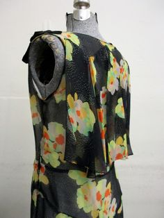 Vintage 20s Floral Silk Drop Waist Flapper Dress