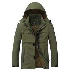 Autumn Coats Windproof Detachable Hood Parka Casual Jacket Men Bomber Jacket Men Army Green Zipper Coat Clothing