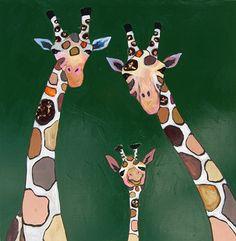 Giraffe Family in Deep Gloss Green by Eli Halpin