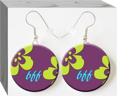 BFF. Best freinds forever earrings. Button Charm Jewelry