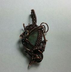 Enigma Series (E5) Pendant with Labradorite bead - copper wire wrap - steampunk - fantasy