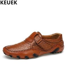 Large size Spring Men Casual leather shoes Split Leather Breathable Loafers  Hook  amp  Loop Flats 8faa3e1ab254