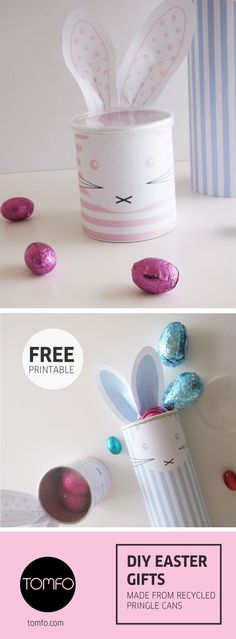 Check out this gorgeous Easter gift idea, (made using recycled Pringles cans) there's a free printable on Tomfo.com, super easy to make and oh so cute for easter, could be a great table centrepiece too.