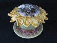 Majolica Sunflower Covered Butter