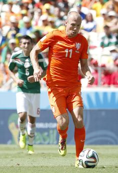 Arjen Robben of the Netherlands against Mexico in the 2014 World Cup