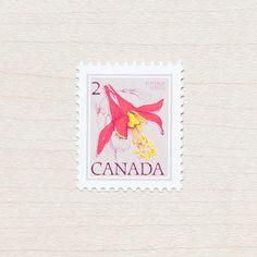 10 x Wildflower Canada Vintage Unused Postage Stamps 1977 Western Columbine Flowes Botanical Calligraphy Envelopes Wedding Invitations Red