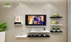 20 Pretty Ideas to Decorate With Floating Shelves, That Make Storage Look Attractive - Modernity Decor Tv Unit Interior Design, Tv Wall Design, Wall Shelves Design, Bedroom Tv Wall, Modern Tv Wall Units, Floating Shelf Decor, Living Room Tv Unit Designs, Room Partition Designs, Tv Wall Decor