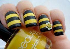Black,Yellow Nails