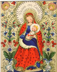 Blessed Mother Mary, Blessed Virgin Mary, Religious Images, Religious Art, Vintage Christmas Cards, Christmas Images, Vintage Cards, Images Victoriennes, Religion