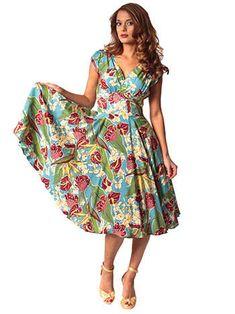 40s Style Hawaiian Print Swing Dress