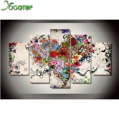 D Inkach Diamond Painting by Number Kit DIY Diamond Painting Set Wall Stickers 5D Embroidery Flower Rhinestone Pasted Cross Stitch